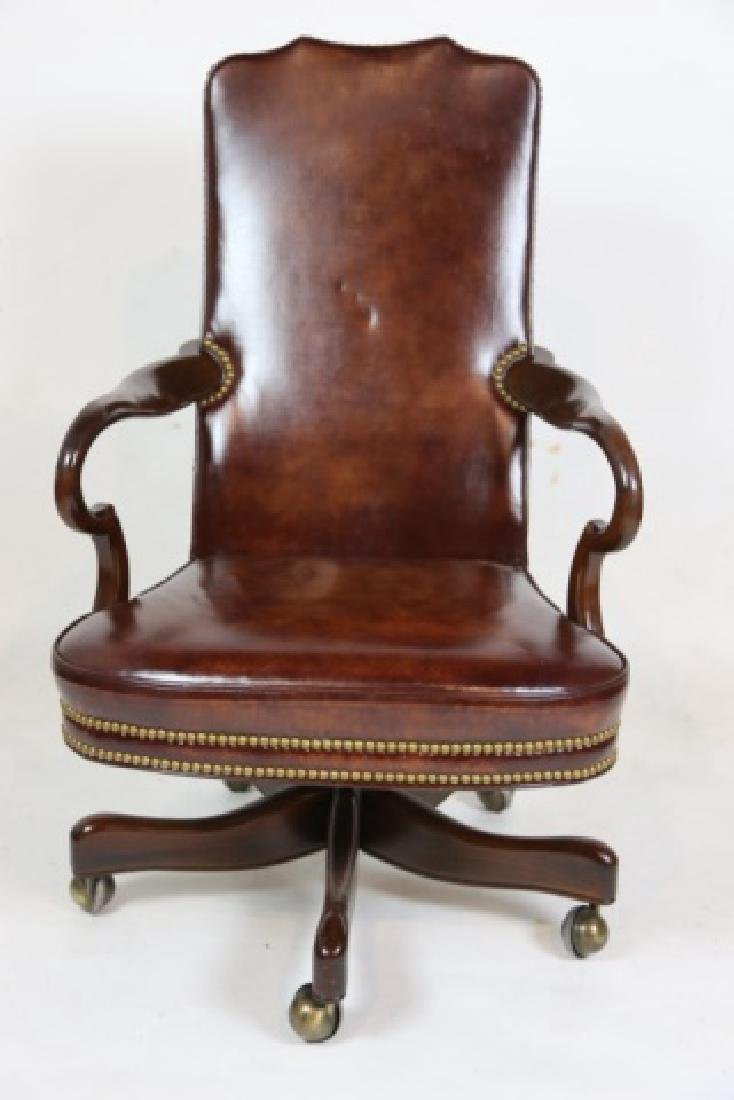 HICKORY FURNITURE NAILHEAD TRIMMED LEATHER CHAIR - 5