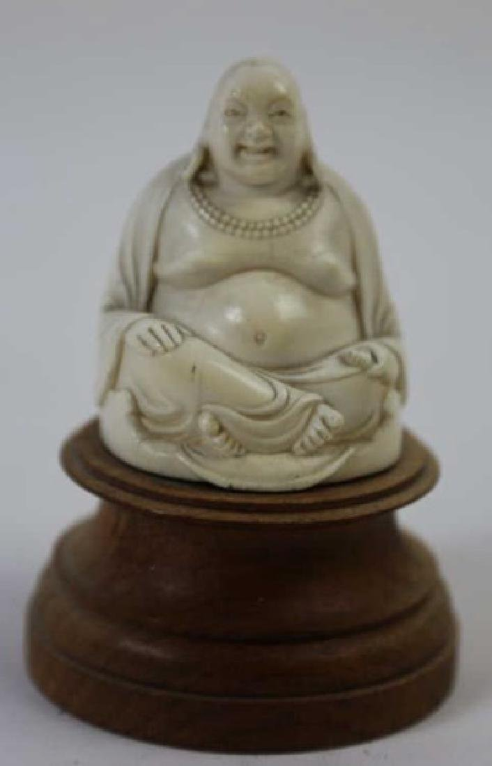 CHINESE HAND CARVED ANTIQUE HAPPY BUDDHA