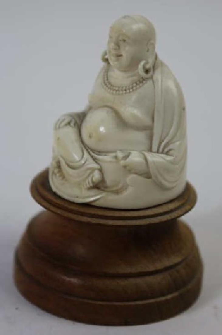 CHINESE HAND CARVED ANTIQUE HAPPY BUDDHA - 3