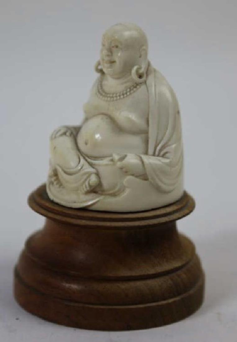 CHINESE HAND CARVED ANTIQUE HAPPY BUDDHA - 4
