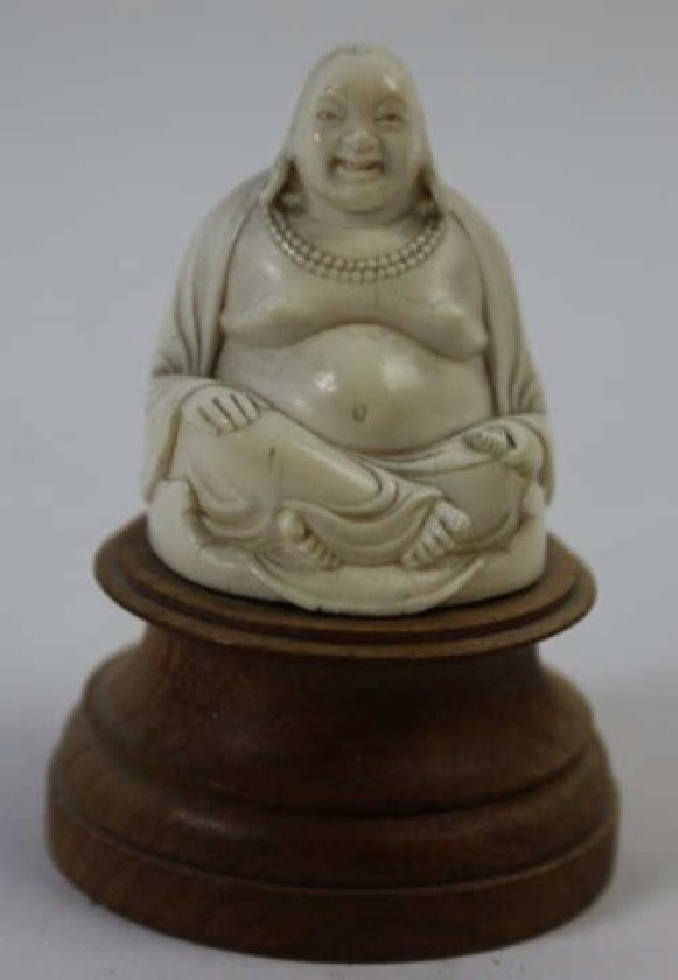 CHINESE HAND CARVED ANTIQUE HAPPY BUDDHA - 5