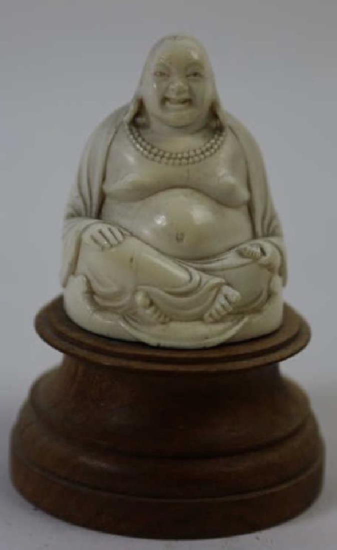 CHINESE HAND CARVED ANTIQUE HAPPY BUDDHA - 6