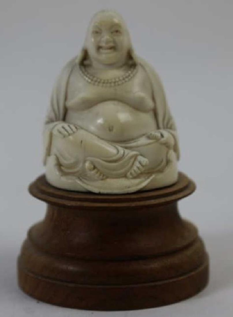 CHINESE HAND CARVED ANTIQUE HAPPY BUDDHA - 7