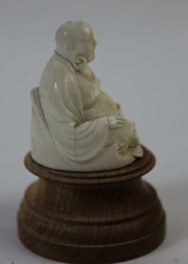 CHINESE HAND CARVED ANTIQUE HAPPY BUDDHA - 8