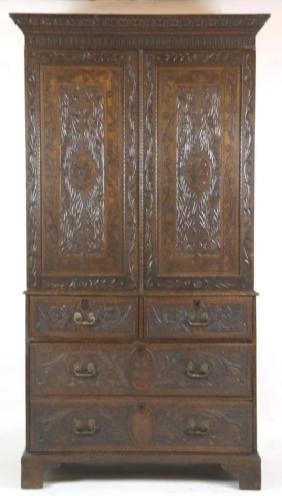 ENGLISH FINE ANTIQUE HAND CARVED LINEN PRESS