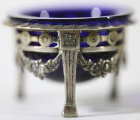 STERLING SILVER & COBALT ANTIQUE MASTER SALT