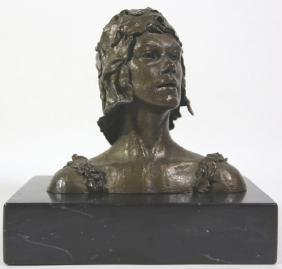 DAVID CORNELL  BRONZE BUST ON MARBLE PLYNTH