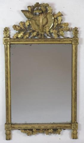 FINE FRENCH ANTIQUE CARVED GILT MIRROR