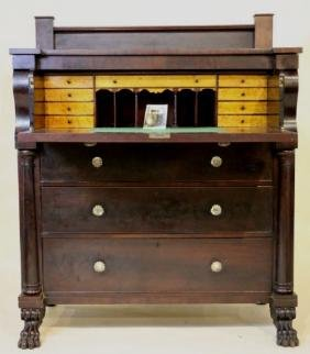 AMERICAN ANTIQUE MAHOGANY BUTLER'S SECRETARY CHEST
