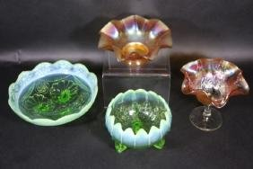 VINTAGE CARNIVAL RAISED COMPOTE  FOOTED BOWL GROUP