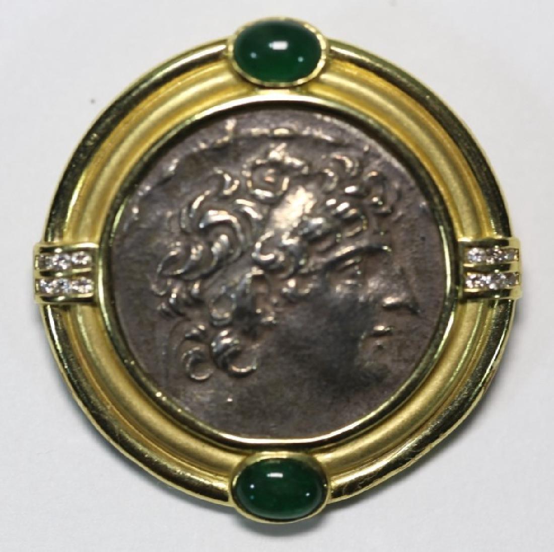 18KYG EMERALD AND DIAMOND ANCIENT COIN PENDANT