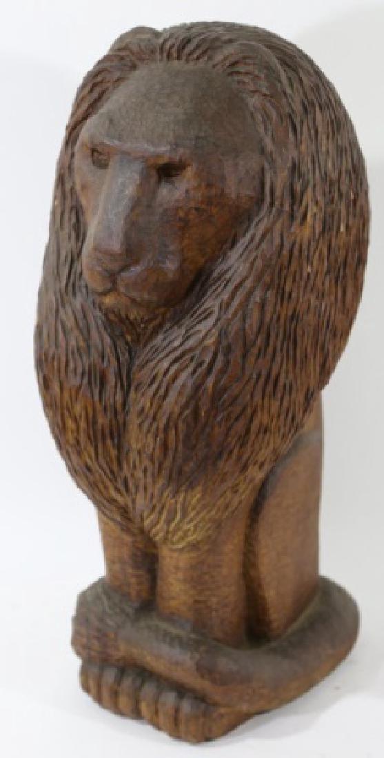 HAND CARVED VINTAGE LION