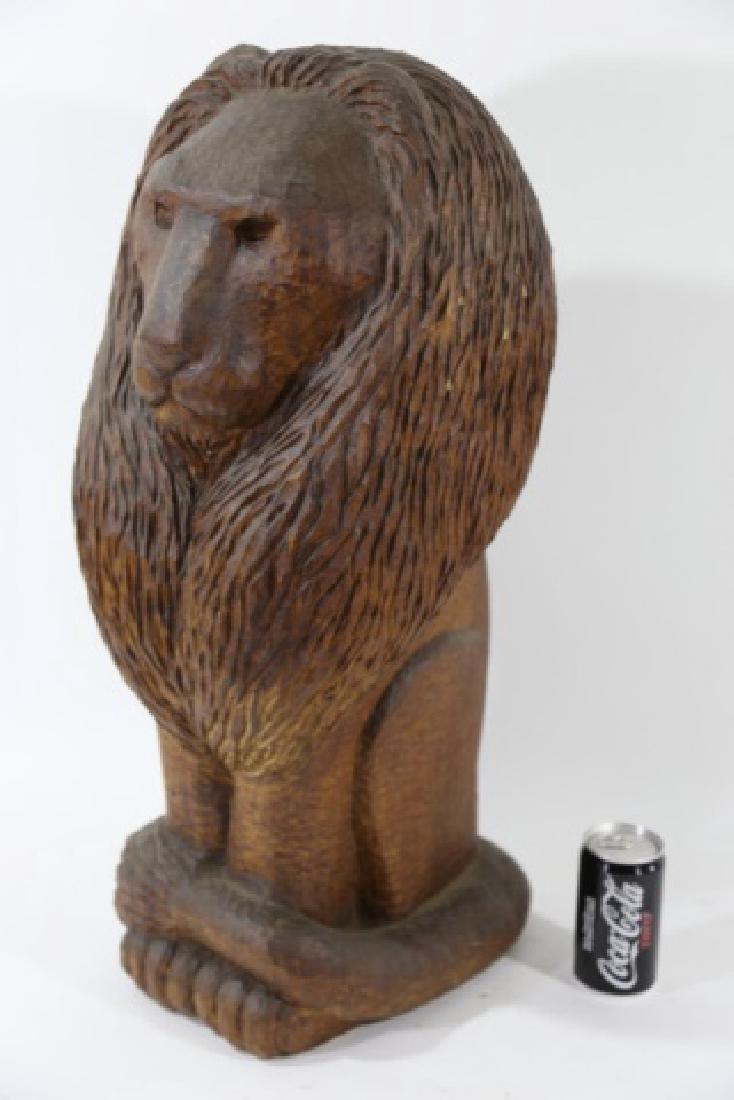 HAND CARVED VINTAGE LION - 2
