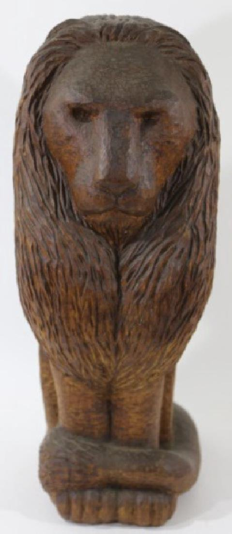 HAND CARVED VINTAGE LION - 3