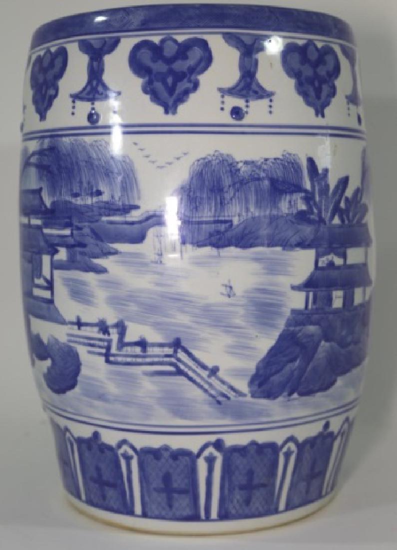 JAPANESE BLUE & WHITE PORCELAIN GARDEN SEAT - 3