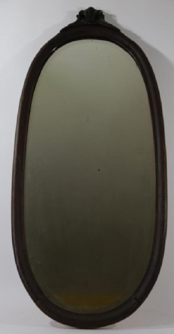 VICTORIAN  OAK  HAND CARVED OVAL MIRROR