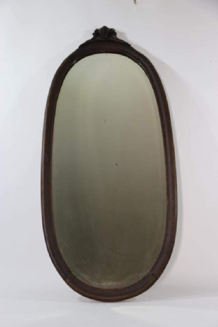 VICTORIAN  OAK  HAND CARVED OVAL MIRROR - 3