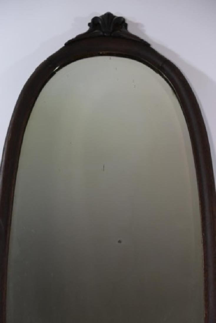 VICTORIAN  OAK  HAND CARVED OVAL MIRROR - 4
