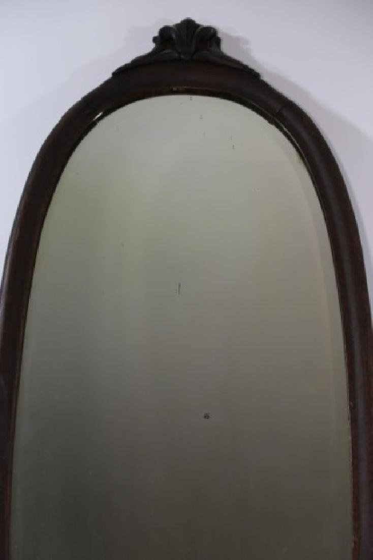VICTORIAN  OAK  HAND CARVED OVAL MIRROR - 5