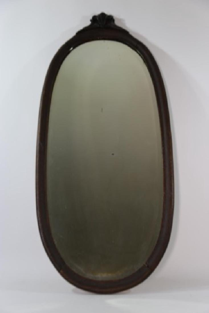 VICTORIAN  OAK  HAND CARVED OVAL MIRROR - 6