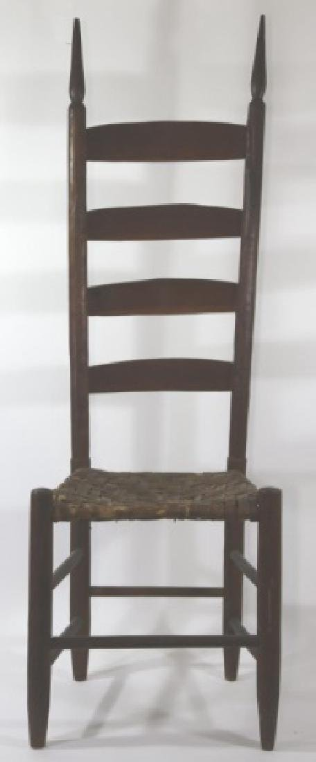 AMERICAN ANTIQUE PRIMITIVE LADDER BACK SIDE CHAIR