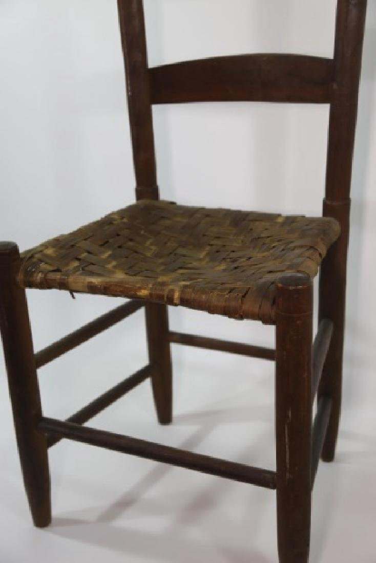 AMERICAN ANTIQUE PRIMITIVE LADDER BACK SIDE CHAIR - 2