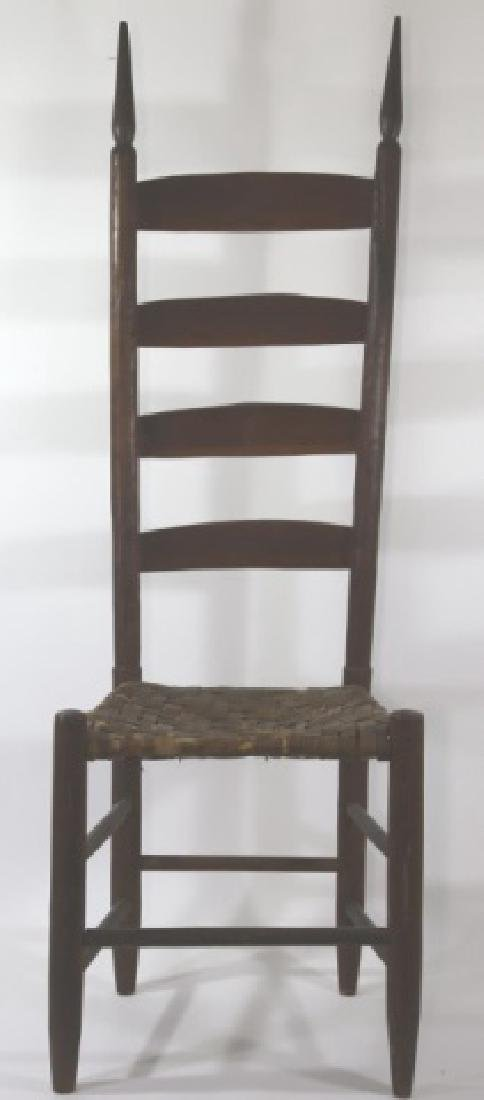 AMERICAN ANTIQUE PRIMITIVE LADDER BACK SIDE CHAIR - 3