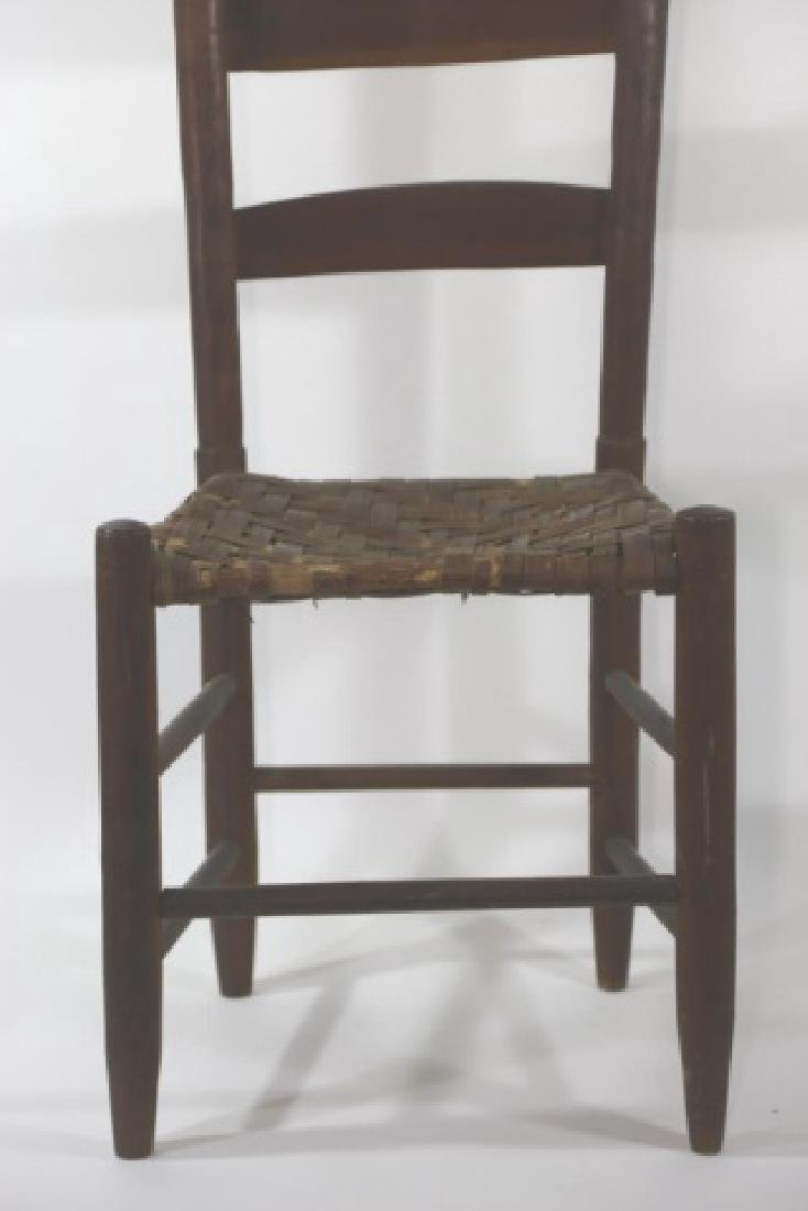 AMERICAN ANTIQUE PRIMITIVE LADDER BACK SIDE CHAIR - 4
