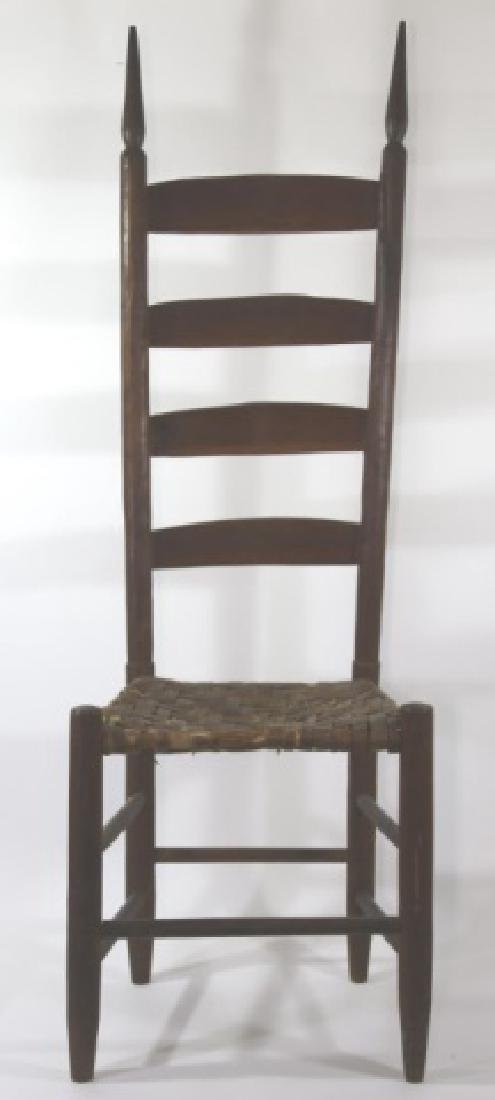 AMERICAN ANTIQUE PRIMITIVE LADDER BACK SIDE CHAIR - 5