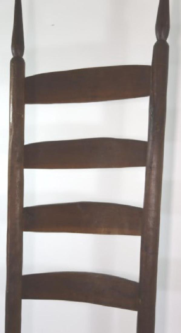 AMERICAN ANTIQUE PRIMITIVE LADDER BACK SIDE CHAIR - 6