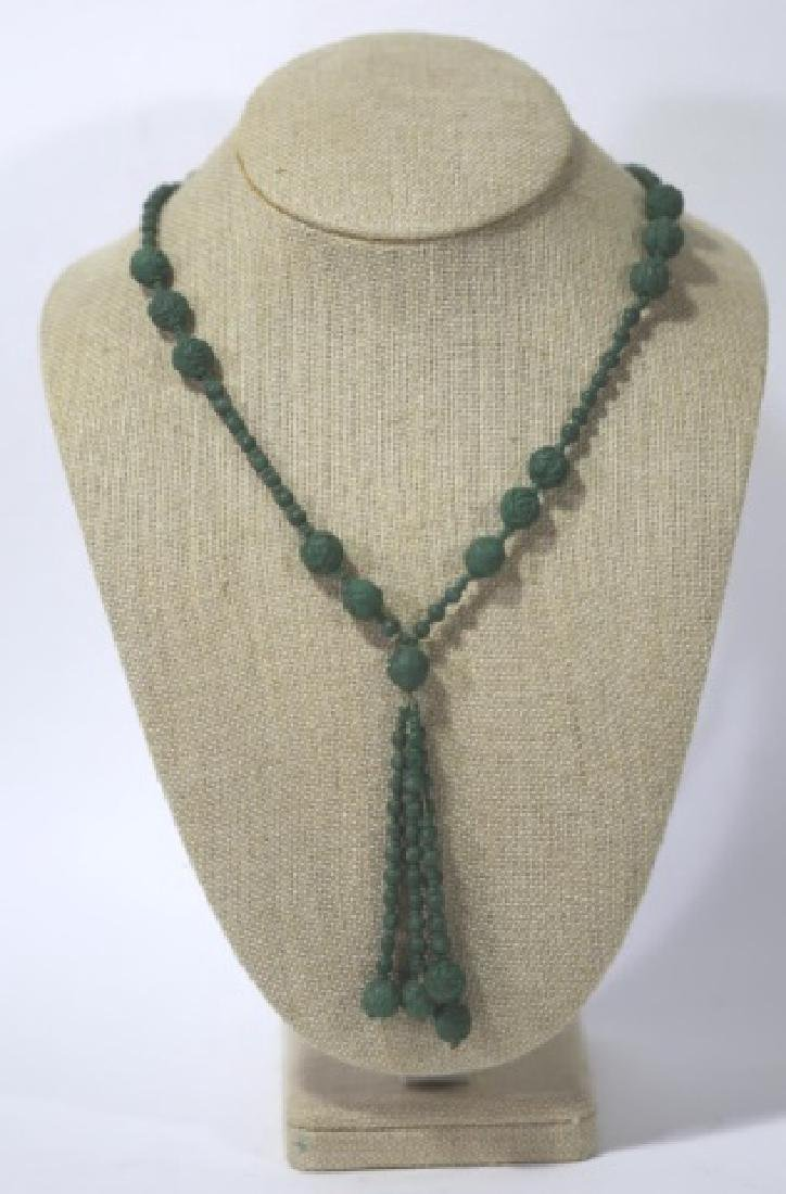 CHINESE HAND CARVED  KNOTTED CELEDON BEAD NECKLACE
