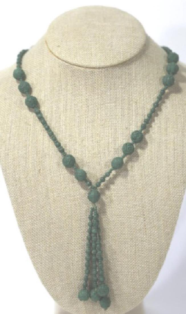 CHINESE HAND CARVED  KNOTTED CELEDON BEAD NECKLACE - 2