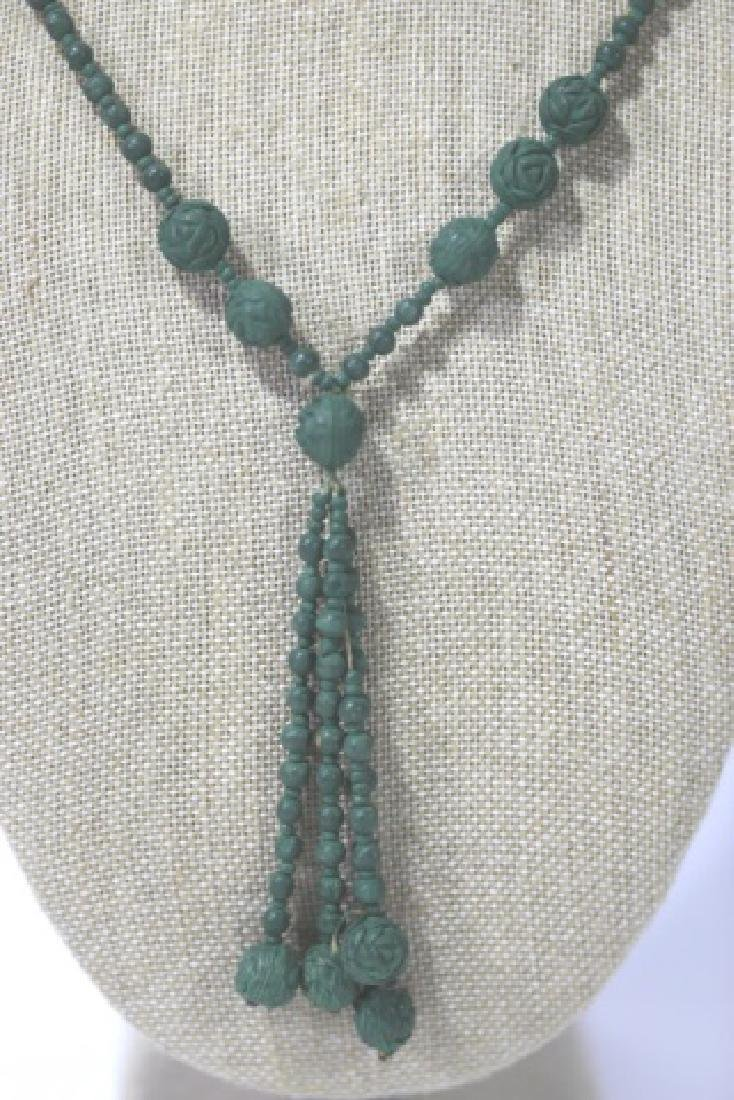 CHINESE HAND CARVED  KNOTTED CELEDON BEAD NECKLACE - 3