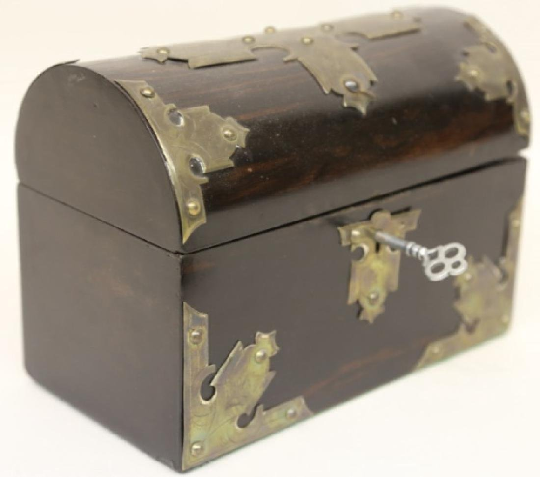 ENGLISH ROSEWOOD & SILVER CAMPAIGN LETTER BOX