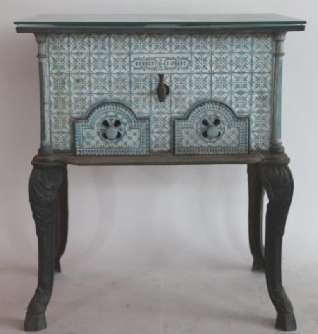 FRENCH ANTIQUE CERAMIC STOVE SIDE TABLE