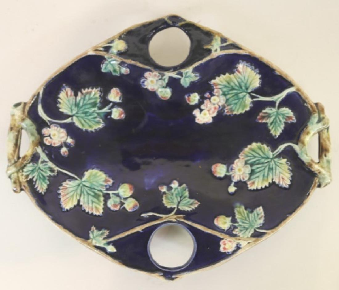 FRENCH ANTIQUE MAJOLICA  STRAWBERRY DISH
