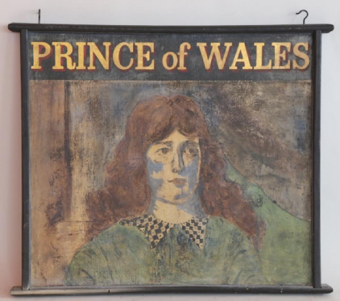 "ENGLISH 'PRINCE OF WALES"" ANTIQUE HANGING PUB SIGN"
