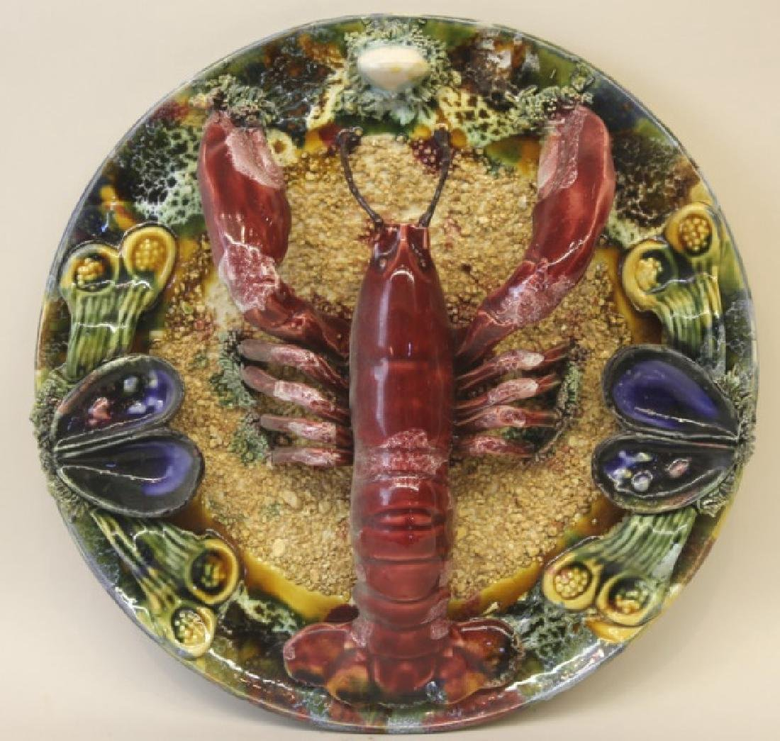 ENGLISH ANTIQUE PALISSY WARE LOBSTER PLATE
