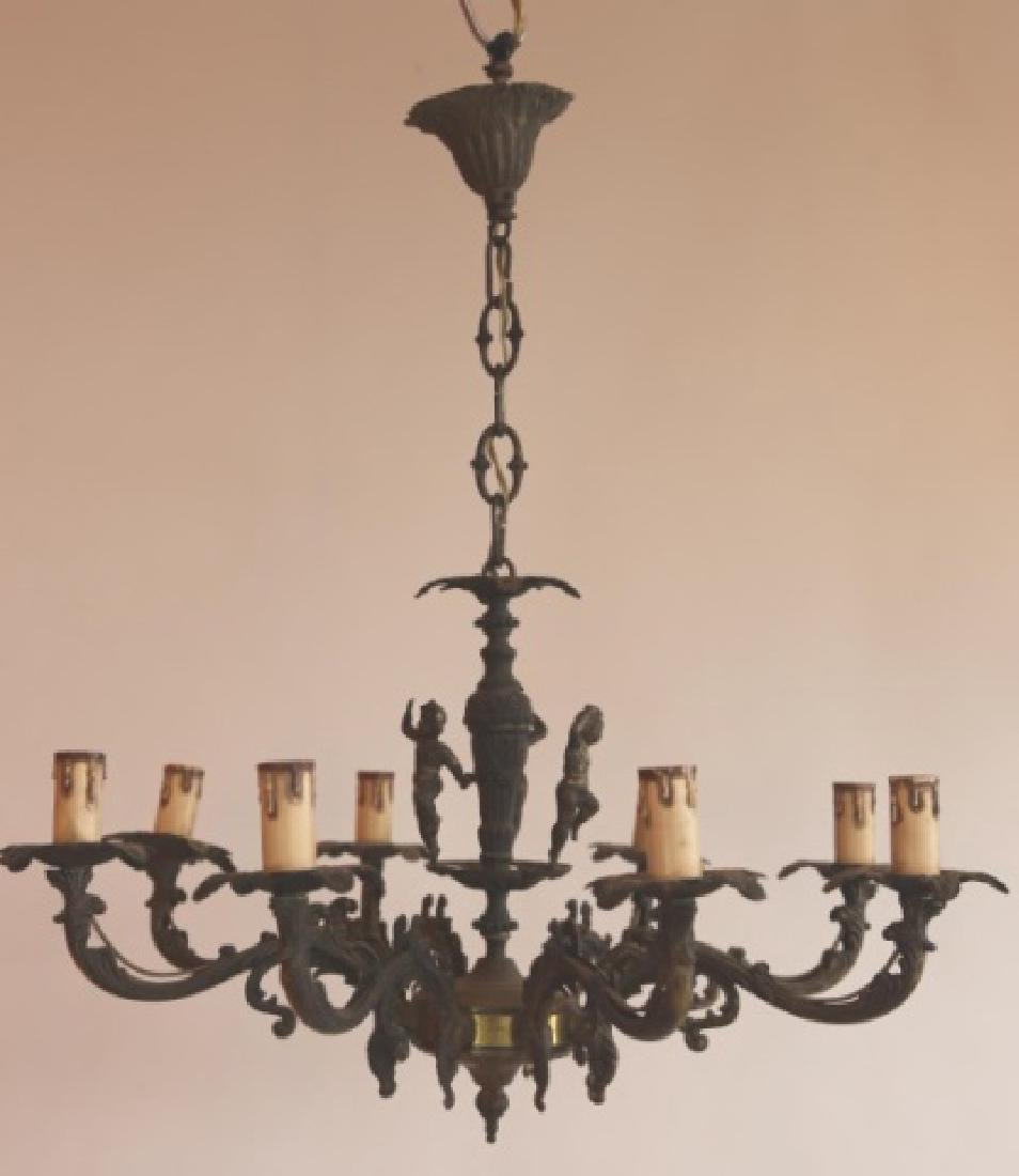 FRENCH BRONZE CLASSICAL PUTTI MOUNTED CHANDELIER