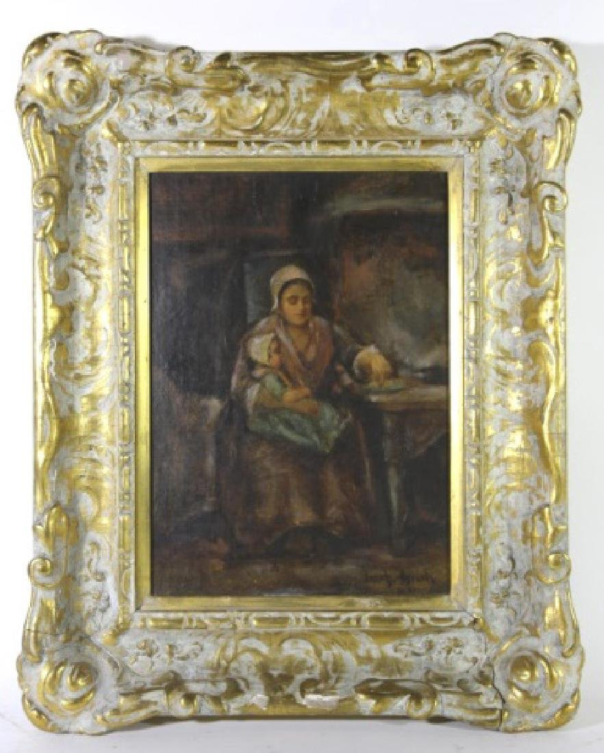 JOZEF ISRAELS (DUTCH, 1824-1911) OIL ON BOARD