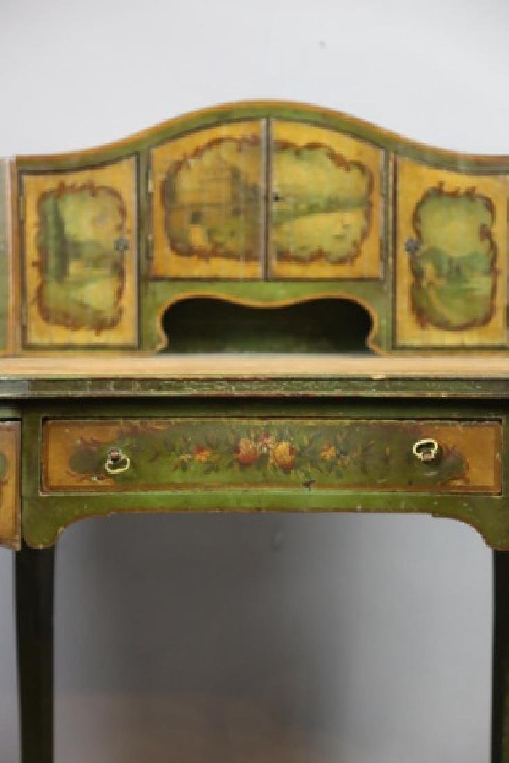FRENCH ANTIQUE HAND PAINTED CARLTON LADIES DESK - 10