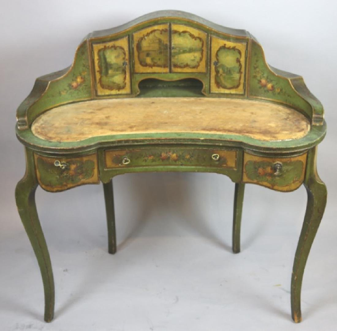 FRENCH ANTIQUE HAND PAINTED CARLTON LADIES DESK
