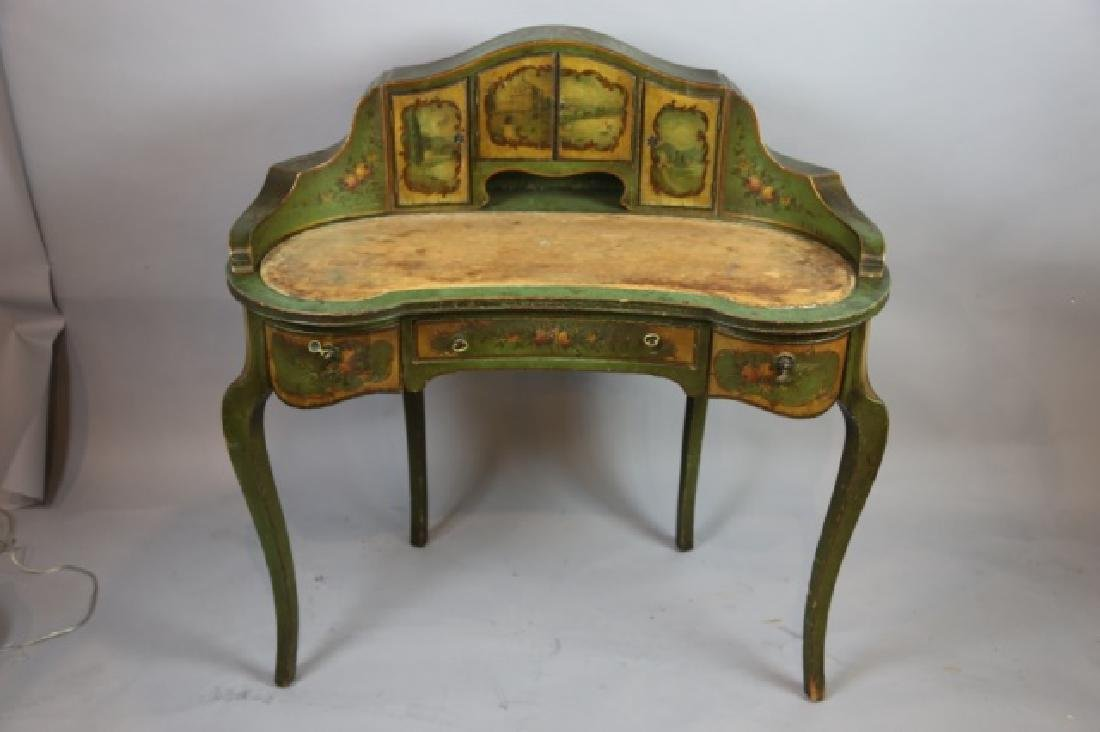 FRENCH ANTIQUE HAND PAINTED CARLTON LADIES DESK - 2