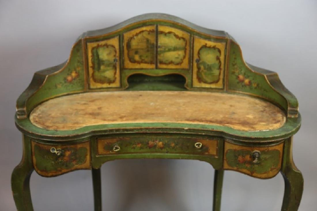 FRENCH ANTIQUE HAND PAINTED CARLTON LADIES DESK - 4