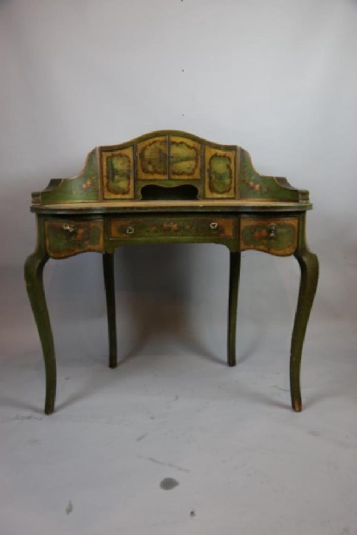 FRENCH ANTIQUE HAND PAINTED CARLTON LADIES DESK - 5