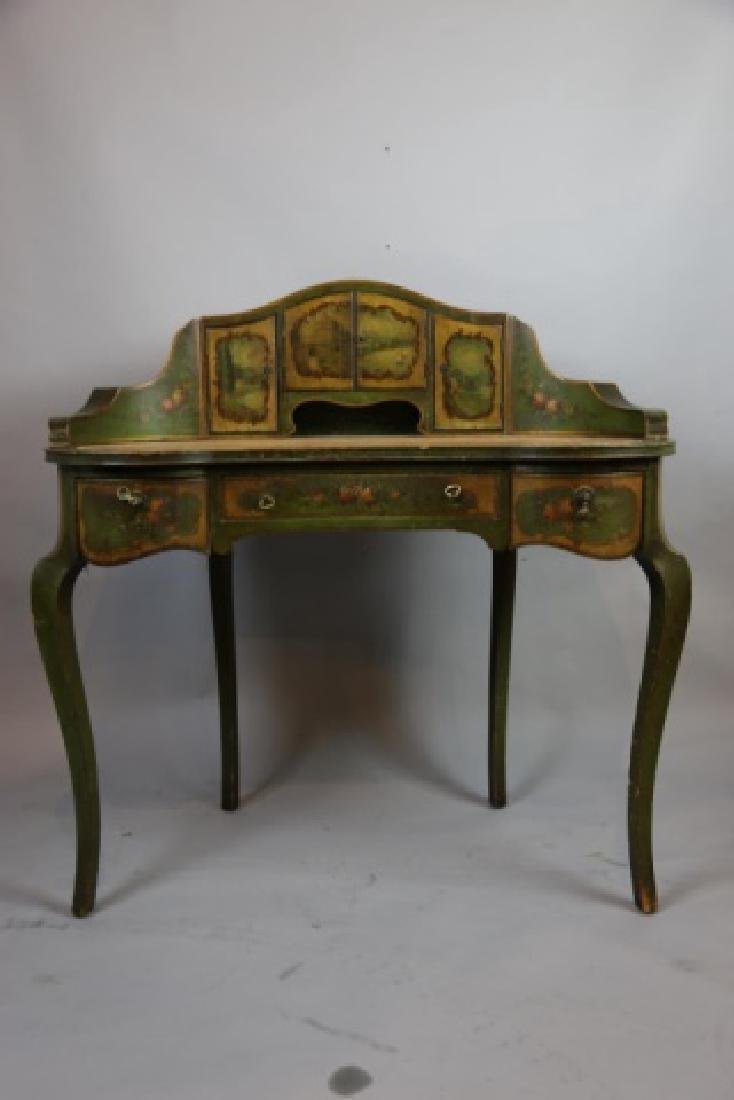 FRENCH ANTIQUE HAND PAINTED CARLTON LADIES DESK - 6