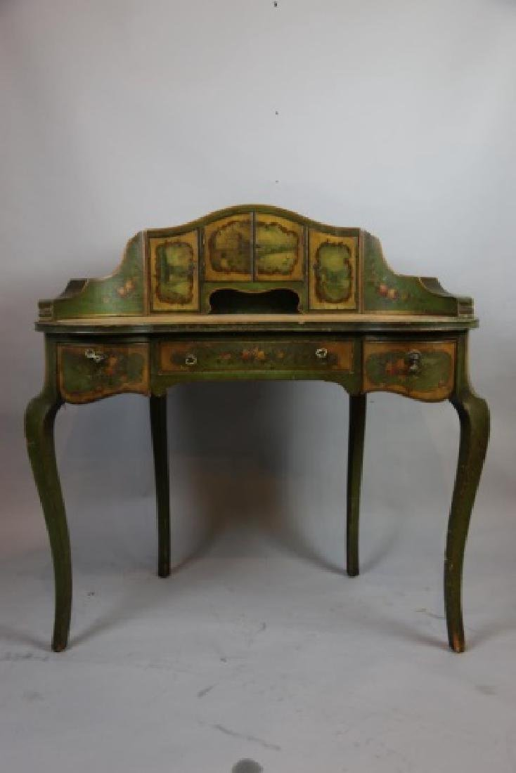 FRENCH ANTIQUE HAND PAINTED CARLTON LADIES DESK - 7