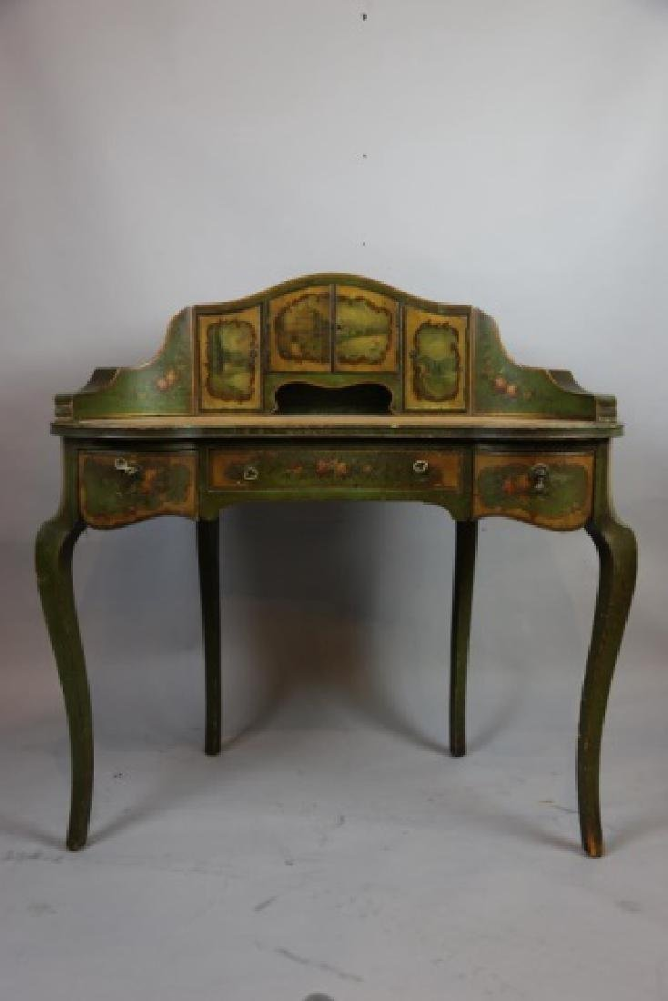 FRENCH ANTIQUE HAND PAINTED CARLTON LADIES DESK - 8