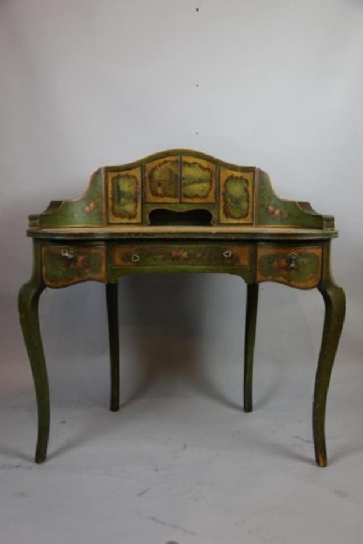 FRENCH ANTIQUE HAND PAINTED CARLTON LADIES DESK - 9