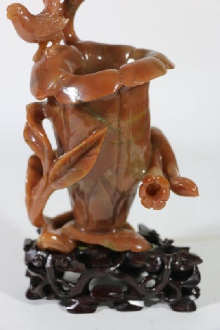 CHINESE ANTIQUE RED CARNELIAN AGATE CARVING - 5